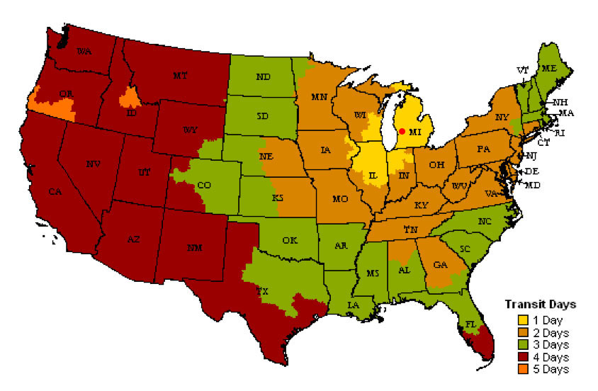 Shipping NurserymenCom Evergreen Seedlings - Us shipping zones map